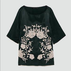 Zara green satin embroidered blouse - Medium